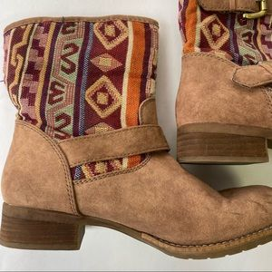 Call It Spring Midwest ankle booties tribal pattern western